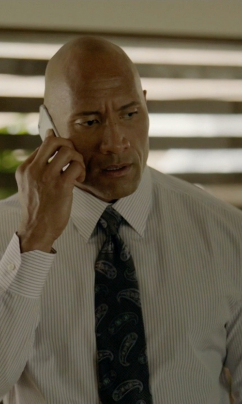 Dwayne Johnson with Ralph Lauren Tailored-Fit French-Cuff Shirt in Ballers