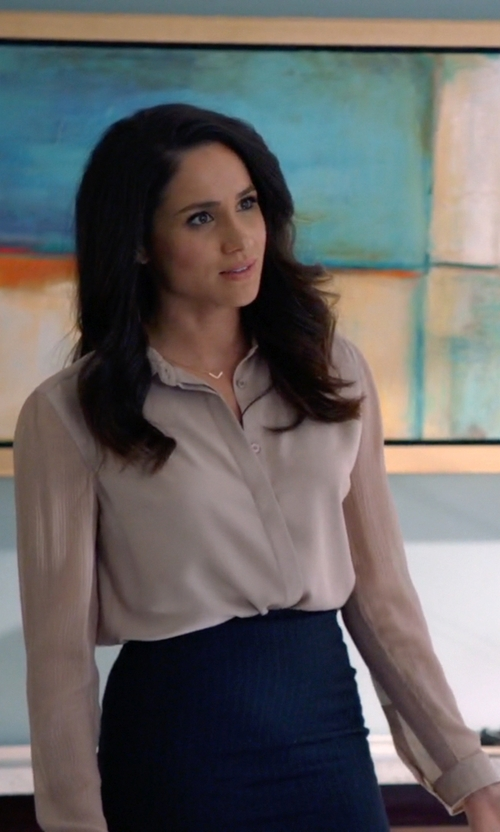 Meghan Markle with Burberry London Sheer Sleeve Blouse in Suits