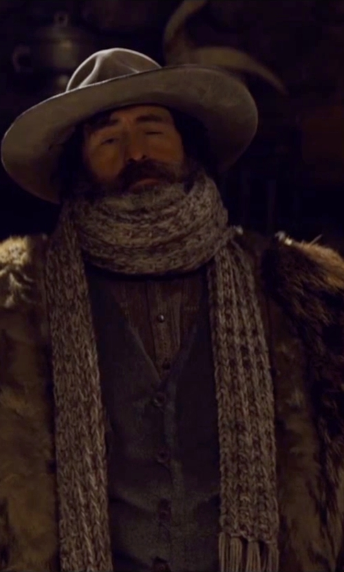 Demian Bichir with Montezemolo Printed Stretch Cotton Velvet Vest in The Hateful Eight