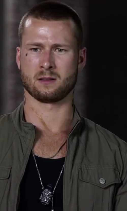 Glen Powell with Richmond Cross & Skull Pendant Necklace in Ride Along 2