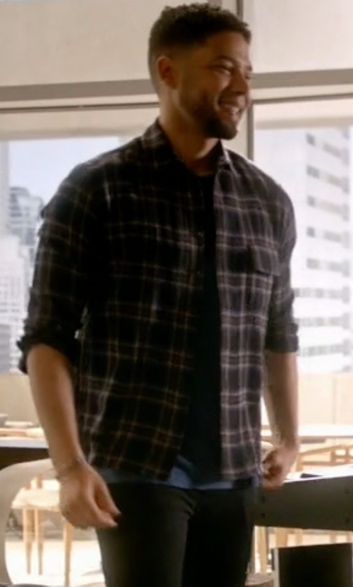 Jussie Smollett with Tom Ford Plaid Flannel Sport Shirt in Empire