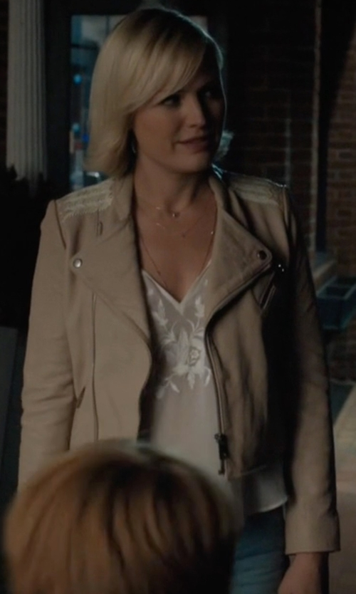 Malin Akerman with Maje Vicky Leather Jacket in Billions