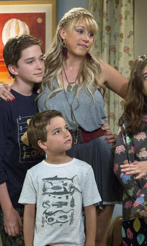 Jodie Sweetin with Ecote Racerback Trapeze Dress in Fuller House