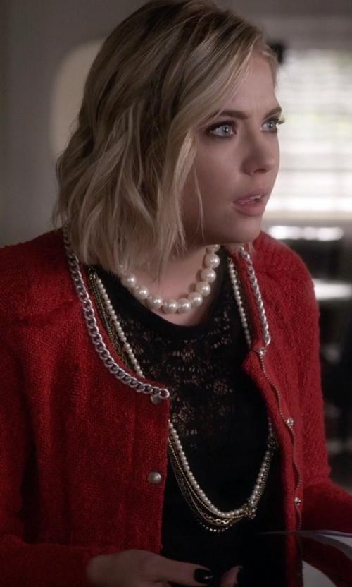 Ashley Benson with Melinda Maria Mini Pyramid Chain Necklace in Pretty Little Liars