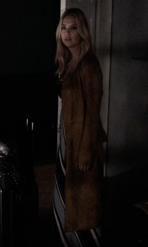 Ashley Benson with French Connection Runaway Draped Coat in Pretty Little Liars