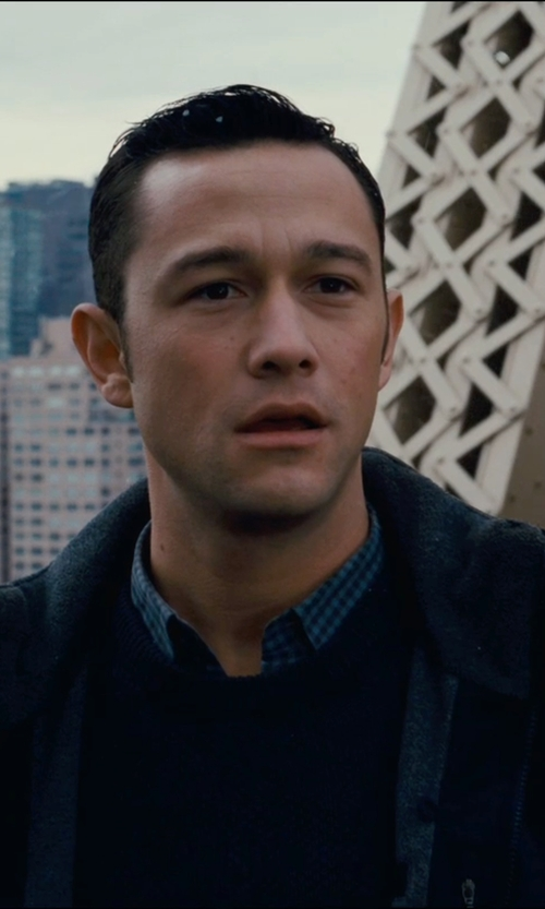 Joseph Gordon-Levitt with Neiman Marcus Cotton Crewneck Pullover Sweater in The Dark Knight Rises