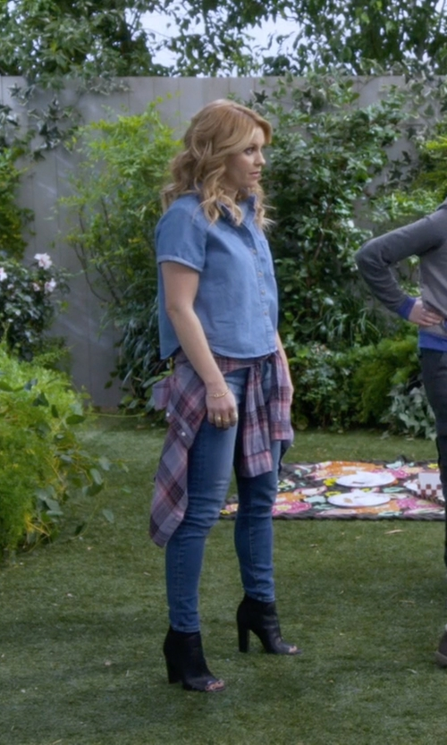 Candace Cameron Bure with BCBGeneration Button Plaid Shirt in Fuller House