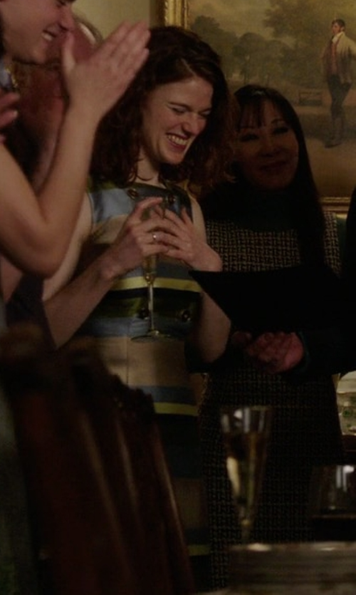 Rose Leslie with Hobbs London Ada Striped Dress in The Good Fight