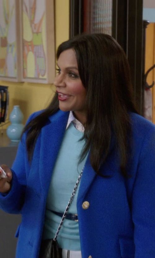 Mindy Kaling with Salvatore Ferragamo Soft Quilted Shoulder Bag in The Mindy Project