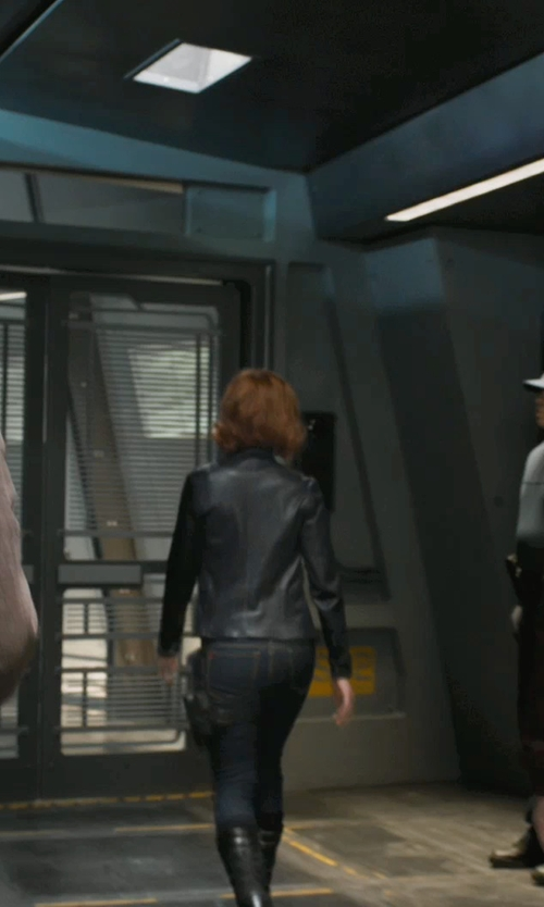 Scarlett Johansson with Kenzo Leather Zip Motorcycle Jacket in Marvel's The Avengers