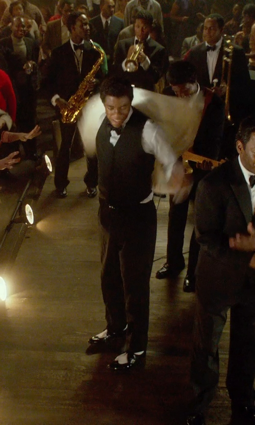 Chadwick Boseman with Neiman Marcus Textured-Square Silk Bow Tie in Get On Up