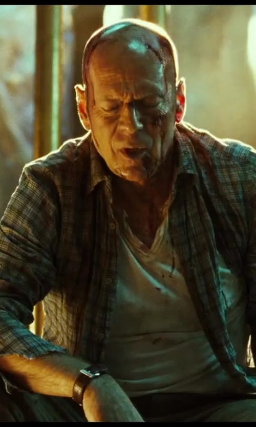 No Actor with Vince Camuto Slim-Fit Checkered Shirt in A Good Day to Die Hard