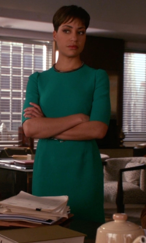 Cush Jumbo with Dolce & Gabbana Wool Crepe Sheath Dress in The Good Wife