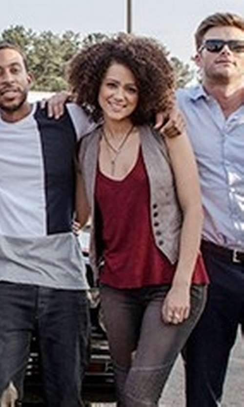 Nathalie Emmanuel with Manila Grace Button Front Vest in The Fate of the Furious