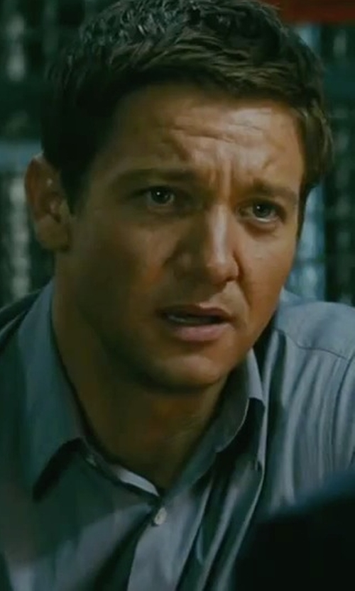 Jeremy Renner with Versace Button-Front Solid Dress Shirt in The Bourne Legacy