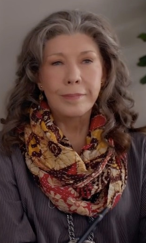 Lily Tomlin with Faliero Sarti Woven Splatter-Print Scarf in Grace and Frankie