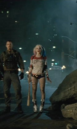 Margot Robbie with Adidas By Jeremy Scott 130mm JS High Heel Leather Boots in Suicide Squad
