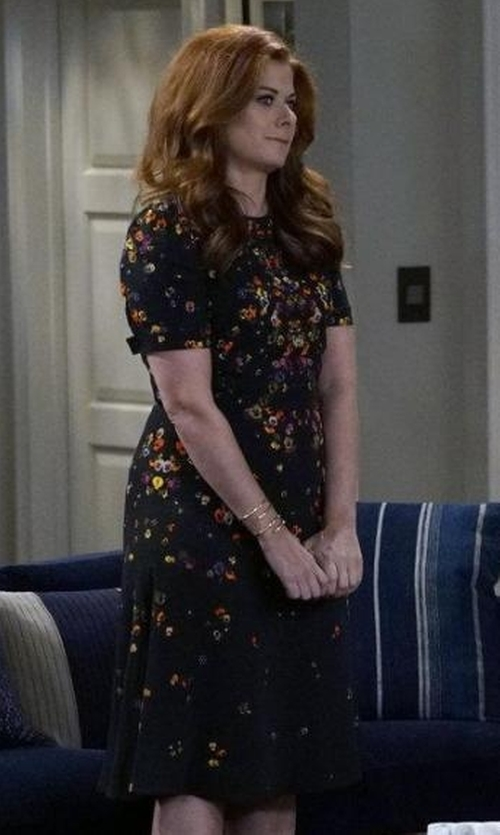 Debra Messing with Givenchy Pansy Print Stretch Cady Dress in Will & Grace