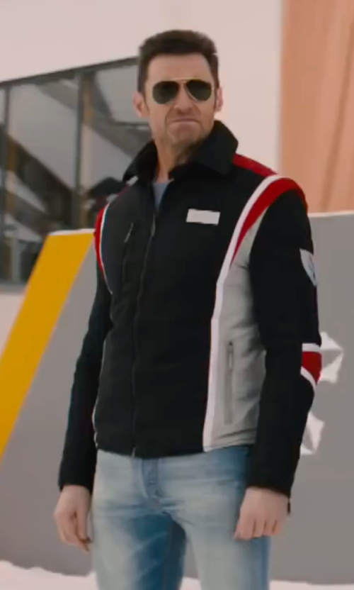 Hugh Jackman with Izod Color-Blocked Soft Shell Jacket in Eddie The Eagle