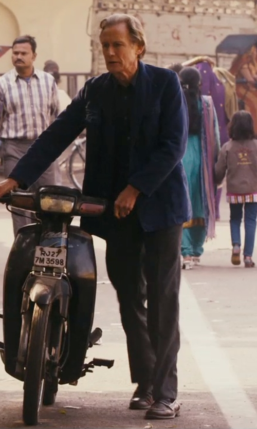 Bill Nighy with Theory Marlo Ganler Large-Plaid Wool Trousers in The Second Best Exotic Marigold Hotel