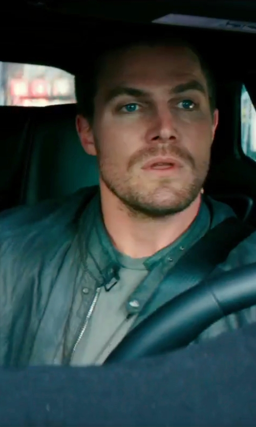 Stephen Amell with Strellson Leather Biker Jacket in Teenage Mutant Ninja Turtles: Out of the Shadows