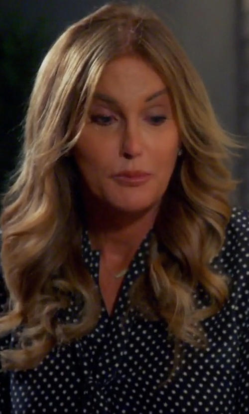 Caitlyn Jenner with Alexis Priya Polka-Dot Tie-Neck Blouse in Keeping Up With The Kardashians