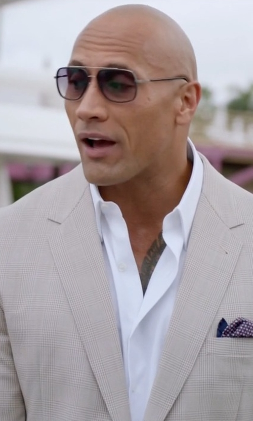 Dwayne Johnson with Ermenegildo Zegna Two-Piece Cotton Suit in Ballers