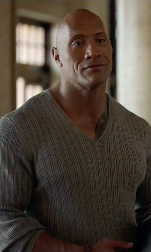 Dwayne Johnson with John Varvatos Collection V-Neck Sweater in Ballers