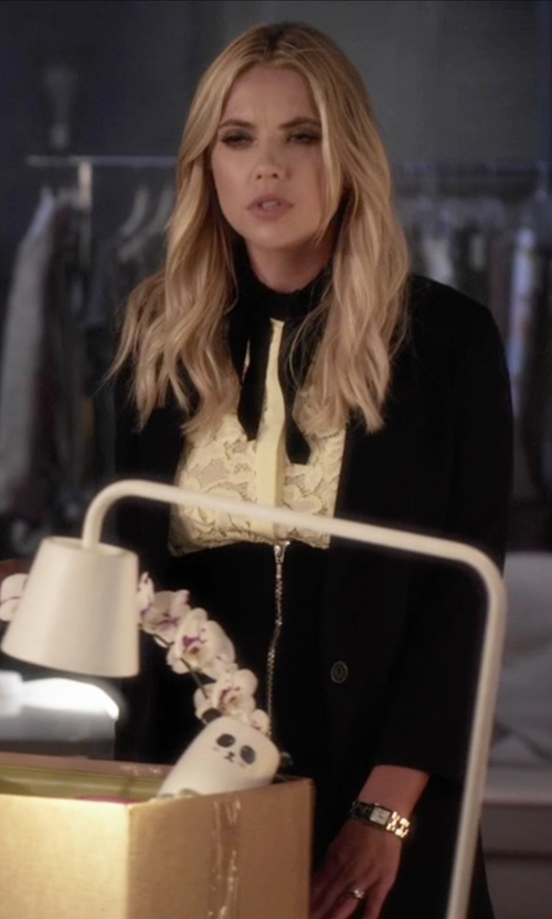 Ashley Benson with Sandro Clem Sleeveless Lace Shirt in Pretty Little Liars
