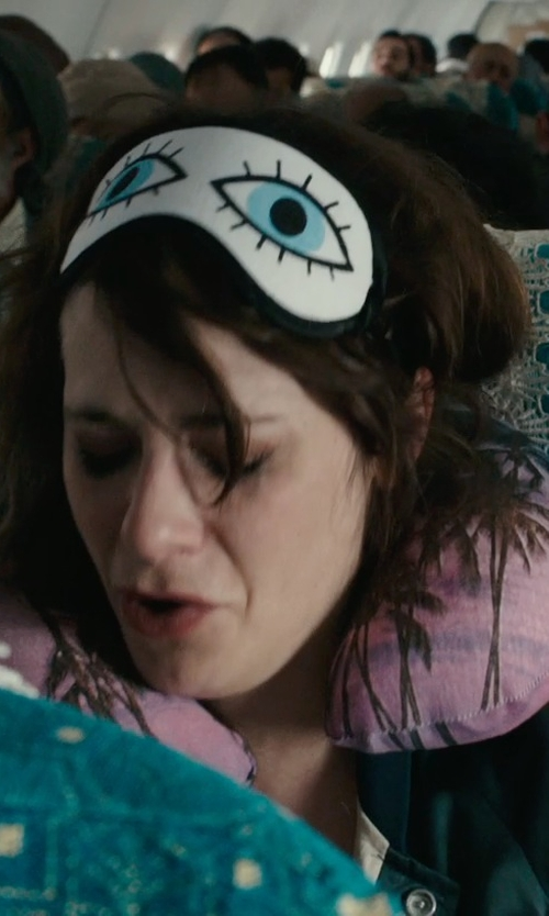 Zooey Deschanel with Tasharina Corp Tearful Eyes Print Sleeping Eye Mask in Rock The Kasbah