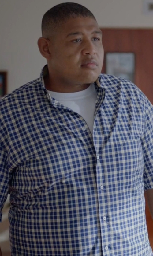 Omar Benson Miller with Polo Ralph Lauren Short-Sleeve Checked Oxford Shirt in Ballers