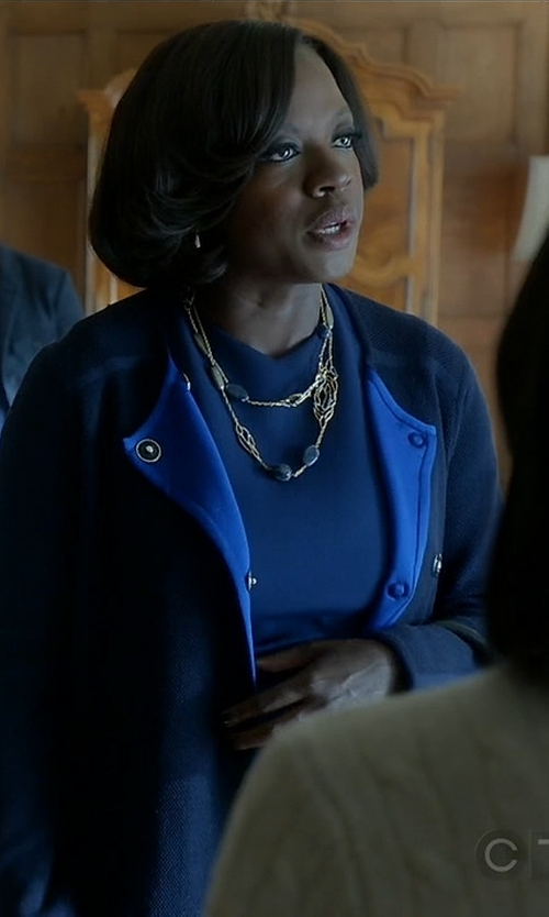 Viola Davis with Alberto Biani Snap Button Coat in How To Get Away With Murder
