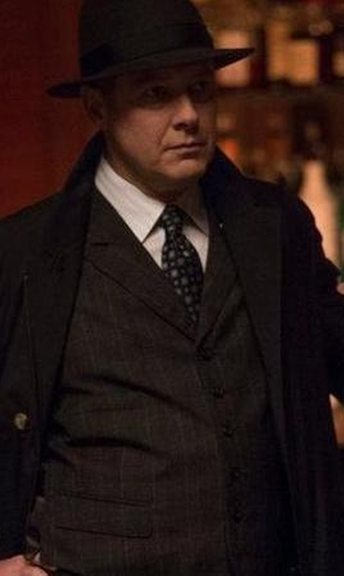 James Spader with Burberry Contrast-Trim Striped Dress Shirt in The Blacklist
