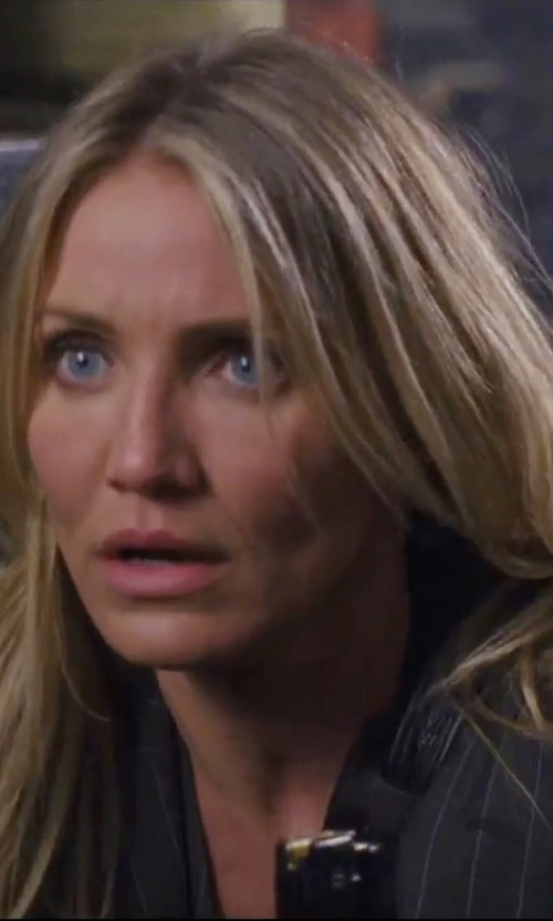 Cameron Diaz with Austin Reed Black Pinstripe Jacket in Knight and Day