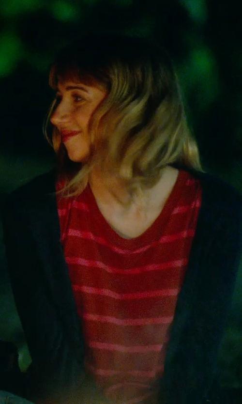 Zoe Kazan with Splendid 1x1 Pocket Cardigan in What If