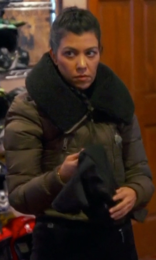 Kourtney Kardashian with Burberry Brit Shearling Collar Cropped Jacket in Keeping Up With The Kardashians