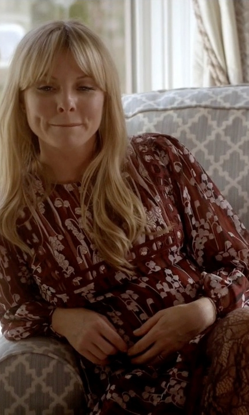 Kaitlin Doubleday with Giamba Floral Blouson Dress in Empire