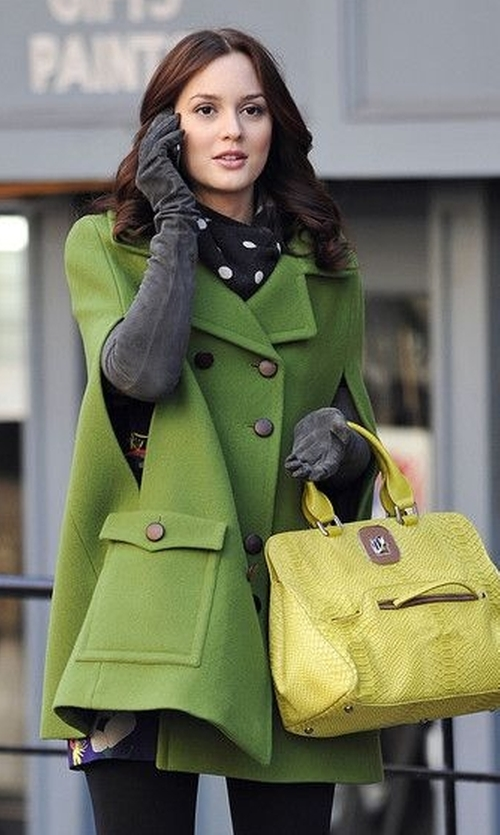 Leighton Meester with Romwe Batwing Style Sleeveless Green Coat in Gossip Girl