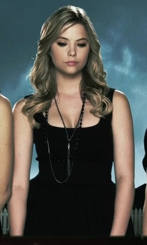 Ashley Benson with Betsy & Adam Brushed Taffeta Fit & Flare Dress in Pretty Little Liars