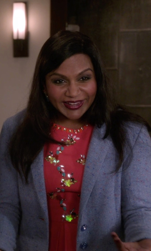 Mindy Kaling with Harris Wharf London Single Breasted Coat in The Mindy Project