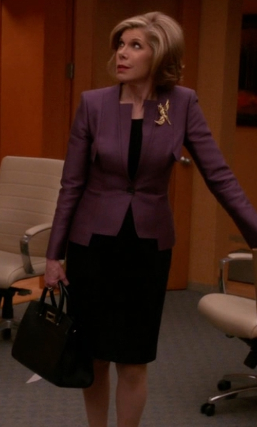 Christine Baranski with Jimmy Choo Riley M Leather Tote Bag in The Good Wife