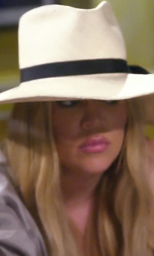 Khloe Kardashian with Janessa Leone Camellia Wide Brimmed Classic Fedora in Keeping Up With The Kardashians