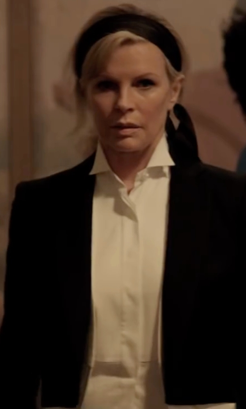 Kim Basinger with Eileen Fisher High-Low Button-Front Shirt in Fifty Shades Darker