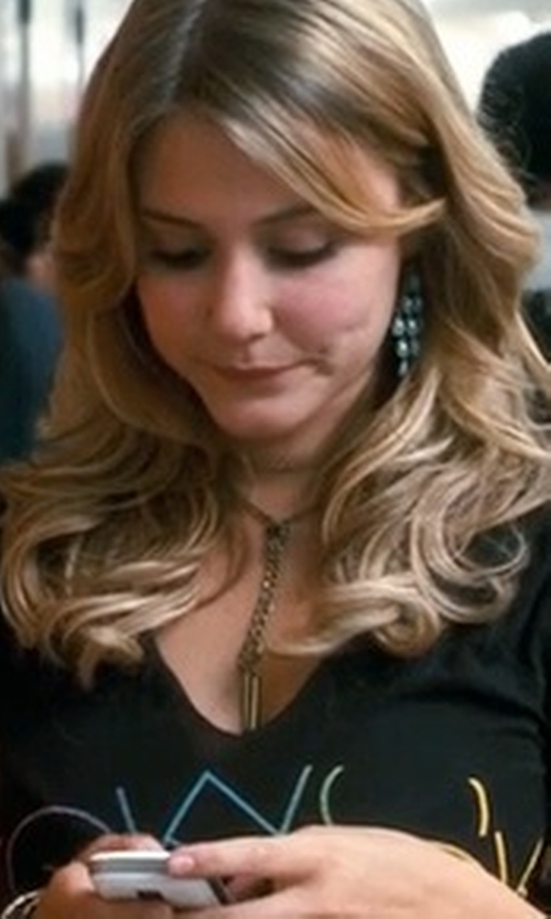 Julianna Guill with Eve's Addiction Vermeil Emerald Chandelier Earrings in Crazy, Stupid, Love.