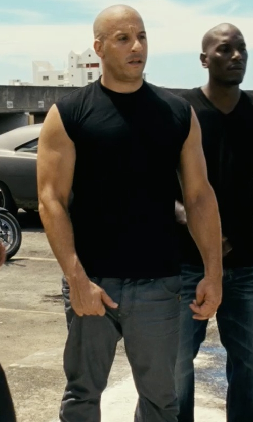 Vin Diesel with Armani Collezioni Denim Pants in Fast Five