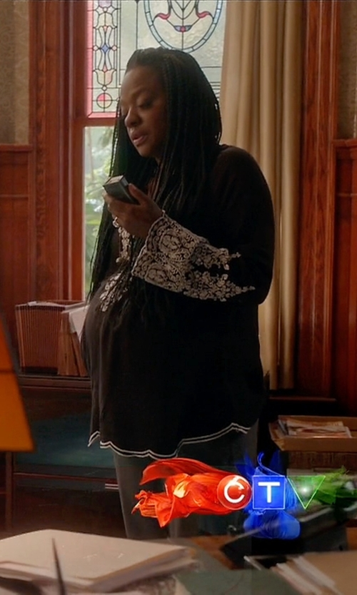 Viola Davis with A Pea in the Pod Decorative Trim Maternity Blouse in How To Get Away With Murder