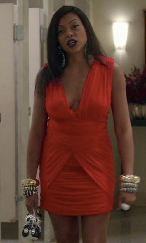 Taraji P. Henson with Halston Heritage Sleeveless V-Neck Sheath Dress in Empire