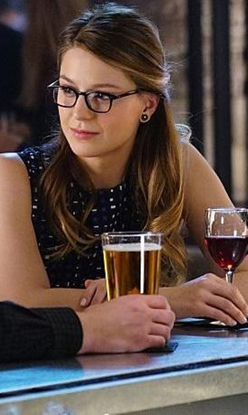 Melissa Benoist with Calvin Klein Flocked Fit & Flare Dress in Supergirl