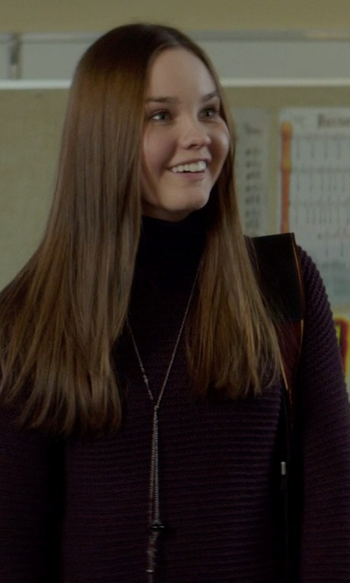 Liana Liberato with American Apparel Women's Cotton Spandex Jersey Long Sleeve Turtleneck Tee in If I Stay