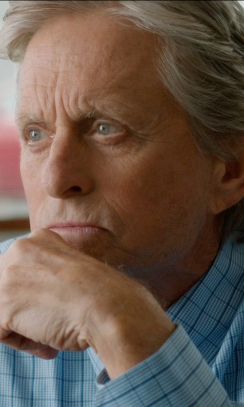 Michael Douglas with Neiman Marcus Trim-Fit Windowpane Check Dress Shirt in And So It Goes